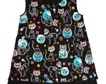 Dress mid-season cotton calavera cat