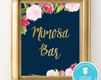Navy and Gold Mimosa bar sign - Navy and gold bridal shower sign - Navy and gold wedding - wedding sign - bridal shower decoration
