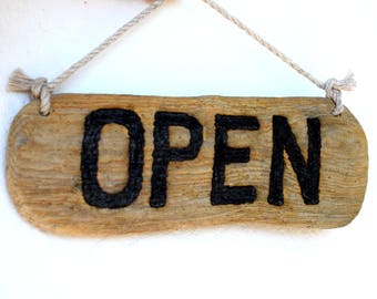 Driftwood Boutique Sign / Door / Window Hanging / SIGNAGE on natural Seaboard OPEN / CLOSED Beach decor, Shop door hanging