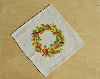 Original Vintage Collectibles Gocken Jobs Print / Napkin / Doilie : Pale Rose Wreath  Swedish Textiles.
