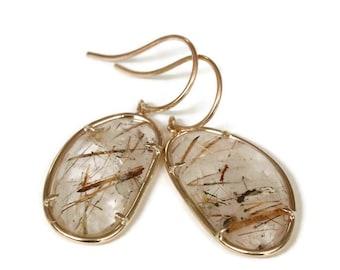 14K Gold Rutilated Quartz Earrings, Free Form  Rutile Quartz Cabochon Earring Drops Rose , Artisan Handmade by Sheri Beryl
