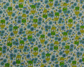 Vintage Cotton Fabric, Cotton Quilting Fabric, Vintage Fabric, Wishing Well, Cotton Floral Fabric, Daisy Fabric - 2 Yards - CFL2521A