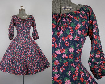 1950's Navy and Pink Floral Day Dress / Size Medium
