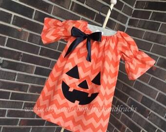 Chevron Jack-o-Lantern Peasant dress, Halloween Dress, Pumpkin Dress, Halloween Outfit, Toddler Halloween Dress, Baby Halloween Dress, Girl
