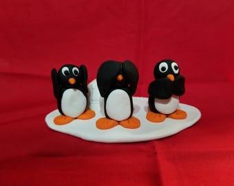Polymer Clay - Hear No Evil Penguins