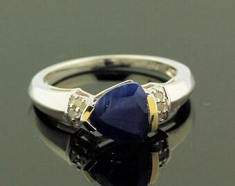 Stunning Sapphire Diamond Ring // 925 Sterling Silver // Ring Size 7 // Handmade Jewelry