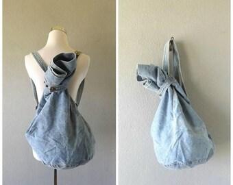 memorial slouchy denim backpack purse   vintage 90s grunge tote bag cotton blue jean bag overnight tote hippie boho handbag festival bag 199