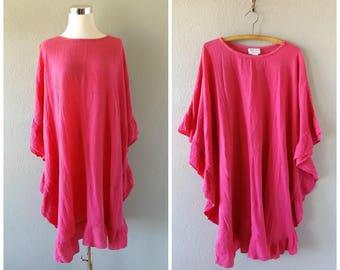 pink ruffled mini kaftan dress - vintage 70s cotton gauze caftan - o/s one size - hippie boho fuchsia summer sundress - 1970s bohemian top