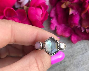 Mini Lacey Ring - Crystal Quartz and Pink Opal