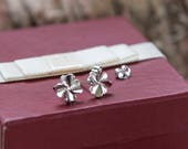 Tiny stud earrings, sterling silver four leaf clover post earrings, very small stud earrings, minimal dainty earrings, mini earrings