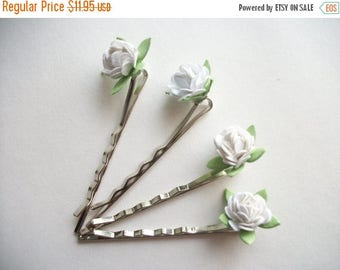 SUMMER SALE SAMPLE Sale White Flower Bobby Pin Set Four Tiny Paper Flowers Small Silver Tone Wedding Bridal Simple Hair Pins Set For Adults