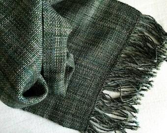 Plaiding Scarf - Handwoven - Merino, Cashmere, Glitter Nylon - Enchanted Forest