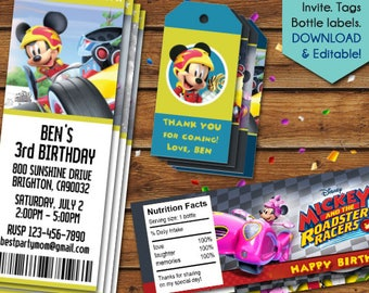 Mickey and the Roadster Racers Party Favors, Mickey Roadster Racers Thank You Tags, Water Bottle Labels, Invitation, Birthday Tags, Disney