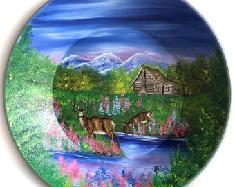Hand Painted 11 Inch Gold Pans Mountain Summer Cabin and Whitetail Deer