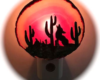 Agate Night Lights  Sensor w 7 watt bulb Hand Painted Oils Southwestern Coyote