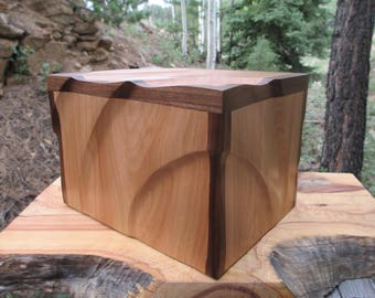 Sculpted European Beech and Walnut Wood Urn / Large Capacity Urn