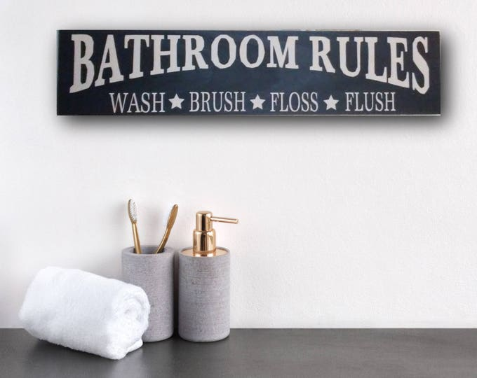 Bathroom Rules, Bathroom Rules Sign, Bathroom Rules Wall Art, Bathroom Rules Wall Decor, Wash Brush Floss Flush Sign, Flush, Bathroom Sign