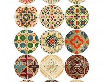 ON SALE 30% OFF Digital Vintage Backgrounds / Patterns Collage Sheet Clip Art - 2 Inch circles - Tags - Jpg - Pdf - Instant Download - Downl