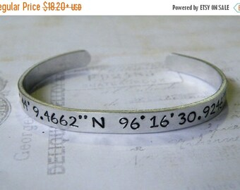 15% off entire shop Latitude Longitude Hand Stamped Cuff Bracelet, secret location-honeymoon-keepsake-gift for her, destination, mom, wife,