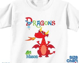 SALE Personalized Cute Dragons Fairytale Birthday Party Shirt T-shirt Bodysuit Dragon Birthday Shirt Baby Kids Boy Girl Pretend Dress Up