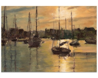 Coastal Wall Art 'Harbor 3' by Trish Savides - Boats Decor Traditional Ocean Harbor Artwork on Metal or Plexiglass