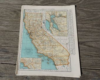 California Map / Vintage Map Print / State Map Wall Art / 1939 Antique Map of California / Travel Decor Atlas Map / Kitchen Decor