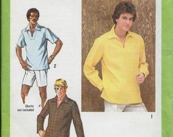 ON SALE VTG 70's Men's Pullover Top Pattern, Tunic Simplicity 9093, Sizes 38 & 42 Uncut