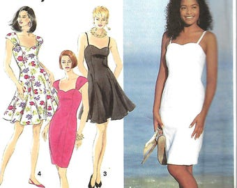Simplicity 7865 Misses/Miss Petite Slim Or Flared Dress Pattern, Size 4-8 & 10-14, UNCUT