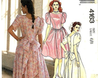 ON SALE McCall's 4163 Misses Dress With Back Bow And Tulip Sleeves Sewing Pattern, Size 6-8, UNCUT