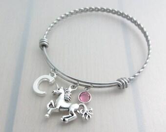 Unicorn Charm Stainless Steel Bangle, Birthstone Initial Bangle, Personalised Silver Letter Bracelet, Adjustable Bangle, Fantasy Gift