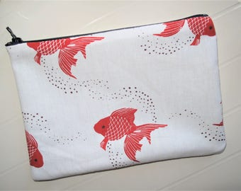 Pouch Makeup organizer or cosmetic case with blue zipper and red fish