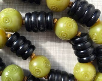 1920's black and jade green carved celluloid necklace