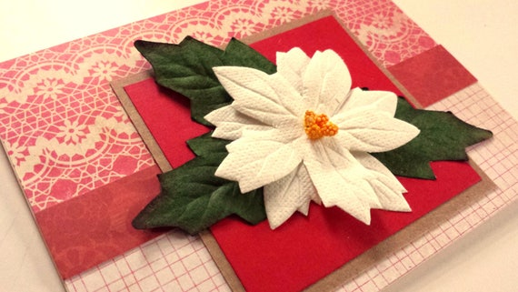 CARD White Poinsettia Holiday Handmade Red and Green