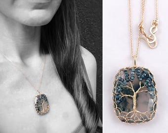 "Tree Of Life Pendant Necklace - Solid 14k Yellow Gold - Cushion Cut Faceted Moss Agate - Genuine Blue Diamond Leaves - ""Everlasting Oak"""