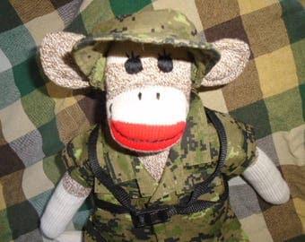 Army/Military Ranger Camoflauge Sock Monkey Doll