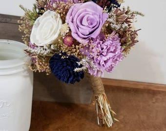 Wedding Bouquet, Sola wood Bouquet, Woodland Dried flower Bouquet, Bridesmaid Bouquet, Sola flowers, Alternative Bouquet, Rustic Handmade