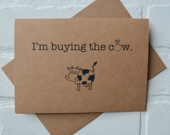I'M BUYING the COW groomsman card will you be my best man card funny groomsmen card kraft bridal party card groomsman proposal funny wedding