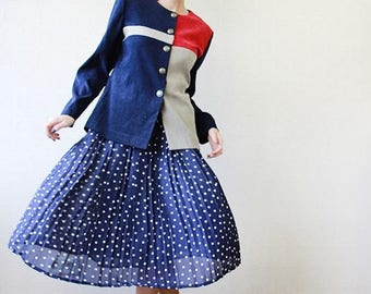50% OFF SALE Blue red and grey asymmetric color block blazer jacket