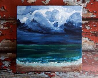 Seascape Canvas Art | Coastal Painting | Ocean Art | Beach Decor | 10x10 | Tempest | Saltons Cove Studio