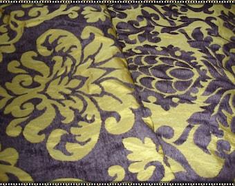 "No. 400 Antique Gold and Eggplant Chenille Fabric;  64"" x 56""; Unused"