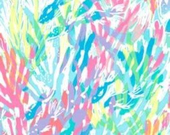 MULTI SPARKLING SANDS   9 X 18 inches or 18 X 18 inches cotton dobby  ~Lilly Pulitzer~