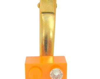 ON SALE Orange LEGO (R) brick 2x2 with a Diamond color Swarovski crystal on a Silver/Gold plated hair clip (one piece)