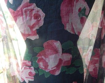 Vintage silk chiffon summer stole shawl scarf large roses design 73 ins long x 38 ins w c 1920 pinks green black