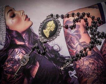 "Black cameo Rosary chaplet rose Calavera Skull ""Western Diligence"""
