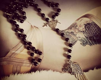 """Chaplet Rosary silver mixed Cross and large feather """"Motorcycle"""""""