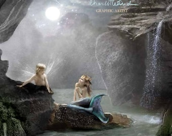 Mermaids Cave Cropped version - Fine Art  Print Mounted or unmounted or two sizes of plaques to choose from-All  signed  By Charlotte Bird