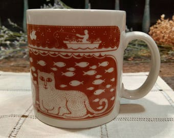 Vintage Collectible, Dated, Taylor & NG Cat Fishing Mug / 1978 / Rust and White / Burnt Orange / Made in Japan