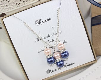 Bridesmaid Pearl Blush Pink and Navy Blue  Jewelry Set, Pearl Necklace, Pearl Earrings, Bridesmaid Jewelry, Bridesmaid Gift Wedding Gift
