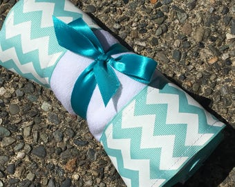 Burp Cloth / Changing Pad: Turquoise Chevron, Personalization Available