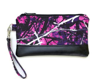 Muddy Girl Camo Wristlet Purse - Cell phone purse  with optional matching coin purse- Small purse - Made with MuddyGirl Camouflage fabric